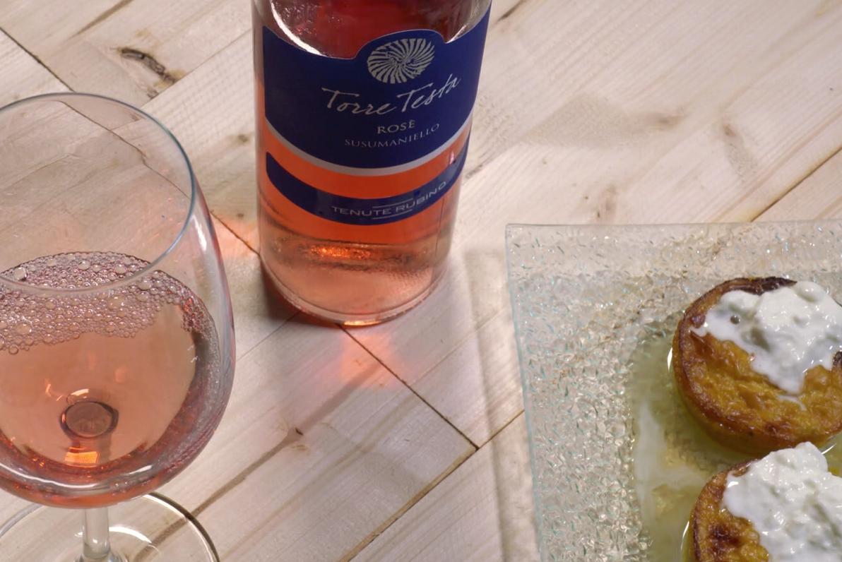 Tortino di peperoni e burrata pugliese - Torre Testa Rosè - Tenute Rubino