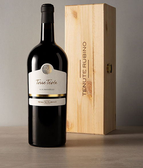 Magnum Torre Testa con cassetta in legno | Tenute Rubino | Vini del Salento